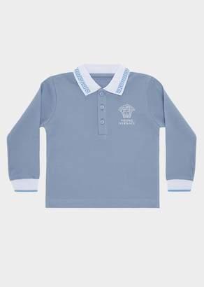 Versace Greca Long Sleeved Polo Shirt