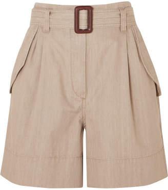 Brunello Cucinelli Belted Cotton Shorts - Beige