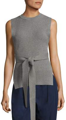 Donna Karan Women's Ribbed Belted Pullover