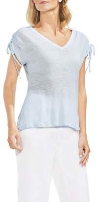 Vince Camuto Drawstring Shoulder V-Neck Tee (Regular & Petite)