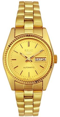 Seiko Women's SUAA86 Goldtone Automatic Day-Date Watch $250 thestylecure.com