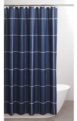 """Sparrowhawk Brandon Twill Blue/White 71"""" x 84"""" Exra-Long Shower Curtain with Coordinating Hook, 13-Piece Set"""