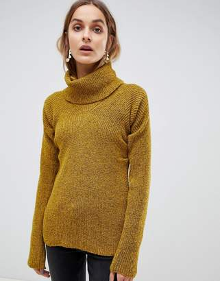 Asos roll neck sweater with gather detail