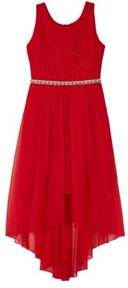Amy Byer Ripple Glitter Knit Long Dress with Sheer Overlay (Big Girls)