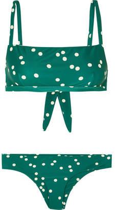 Faithfull The Brand Tiana And Cara Polka-dot Bikini - Emerald