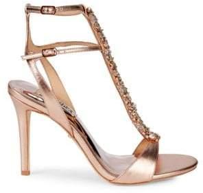 7abb56ac5985 Badgley Mischka Hollow Embellished Metallic High-Heel Sandals
