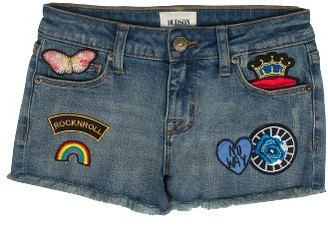 Girl's Hudson Kids Patched Up Denim Shorts $39 thestylecure.com