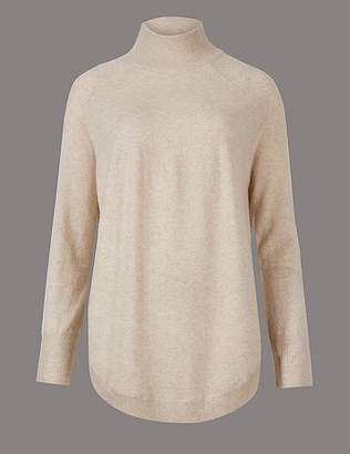 Marks and Spencer Pure Cashmere Curved Hem Funnel Neck Jumper