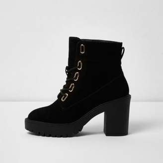 River Island Womens Black lace-up chunky ankle boots
