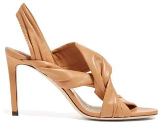 Jimmy Choo Lalia 85 Twisted Leather Slingback Sandals - Womens - Tan