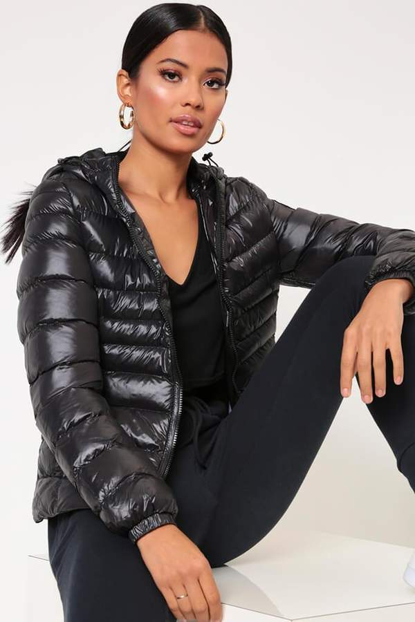 Isawitfirst Black Hooded Padded Jacket With Sheen