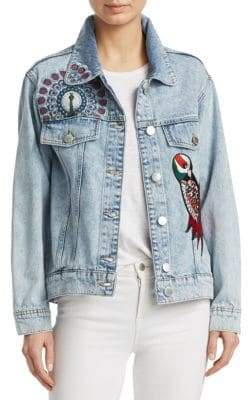 Maje Baltimore Embroidered Denim Jacket
