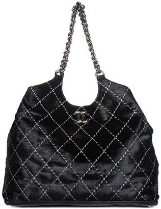 Chanel Black Quilted Wild Stitch Pony Hair Chain Strap Tote