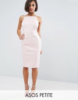 ASOS Petite ASOS PETITE High Neck Strappy Scuba Midi Bodycon Dress $43 thestylecure.com