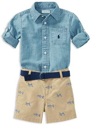 Ralph Lauren Boys' Chambray Shirt, Belt & Shark-Embroidered Shorts Set - Baby
