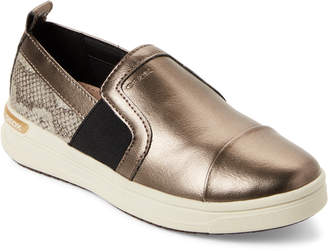 Geox Kids Girls) Dark Gold Aveup Metallic Slip-On Sneakers