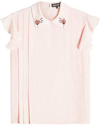 Markus Lupfer Sequin Silk Betty Embellished Top