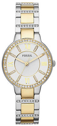 Fossil Virginia Three-Hand Stainless Steel Watch Two Tone