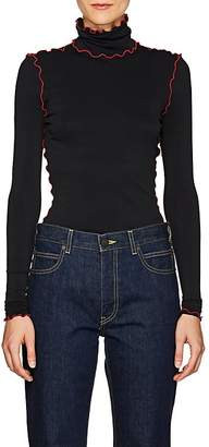 Proenza Schouler Women's Scalloped-Trim Fitted Turtleneck Top