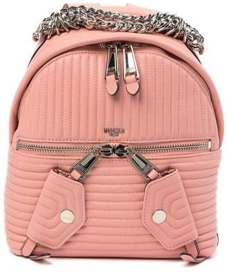 Moschino Leather Topstitched Chain Backpack