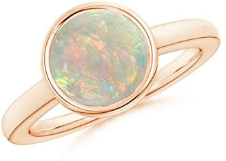 Angara.com October Birthstone - Bezel-Set Round Opal Solitaire Engagement Ring in 14K Rose Gold (9mm Opal)