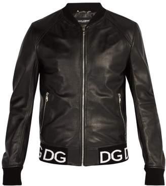 Dolce & Gabbana Logo Trim Leather Bomber Jacket - Mens - Black