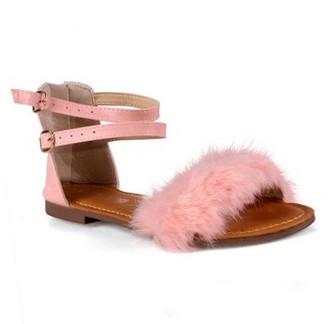 Steve Madden Stella Fur Trim Ankle Strap Women's Flat Sandals in Pink