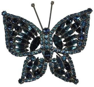 Silver Tone Metal Massive Blue Crystal Rhinestone Butterfly Pin