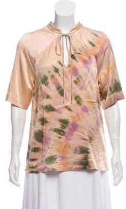 Raquel Allegra Silk Tie-Dye Print Top