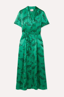 HVN Long Maria Printed Silk-satin Midi Dress - Emerald