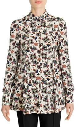 Valentino Women's Pop Flower-Print Silk Blouse