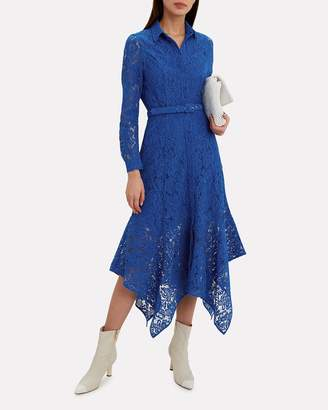 Ganni Cotton Lace Lapis Blue Midi Dress