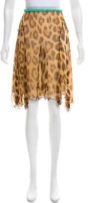 Blumarine Pom-Pom Trimmed Leopard Skirt
