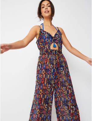 George Blue Aztec Print Cut Out Cover Up Jumpsuit