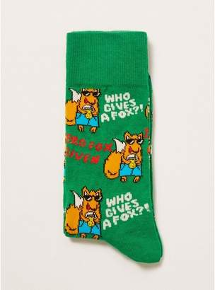 Topman Mens Green 'Who Gives A Fox' Socks