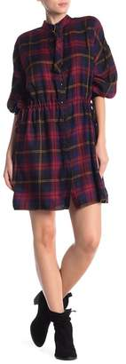 Mustard Seed Plaid Belted Neck Dress