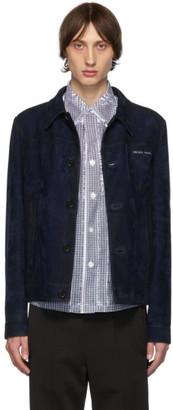 Prada Blue Suede Logo Jacket