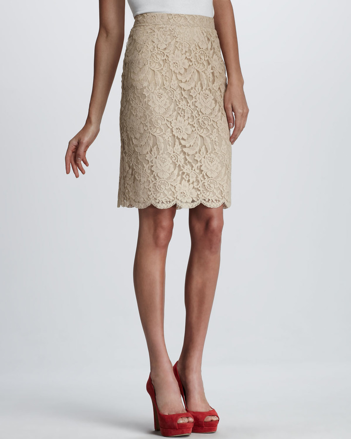 Beyond Vintage Daphne Lace Pencil Skirt