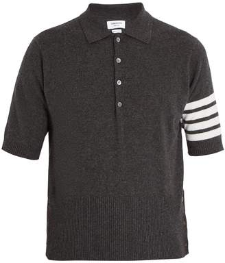 Thom Browne Striped-sleeve cashmere polo shirt