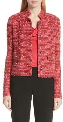 St. John Inlay Stripe Boucle Knit Jacket