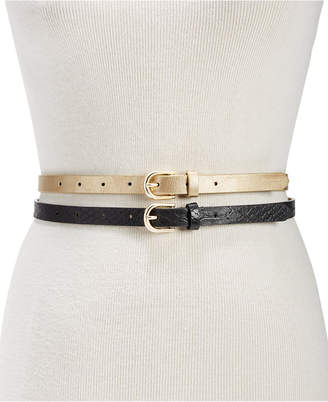 INC International Concepts I.N.C. 2-for-1 Metallic & Embossed Skinny Belts, Created for Macy's
