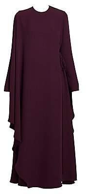 Valentino Women's Draped Side-Tie Silk Cape Dress