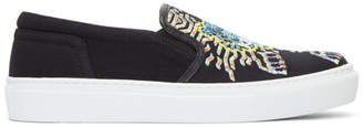 Kenzo Black Limited Edition Geo Tiger K-Skate Slip-On Sneakers