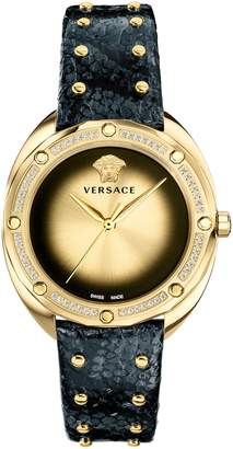 Versace Shadov Snakeskin Leather Band Watch, 38mm