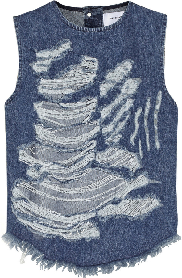 Marques'Almeida for Topshop Animal Shredded denim top