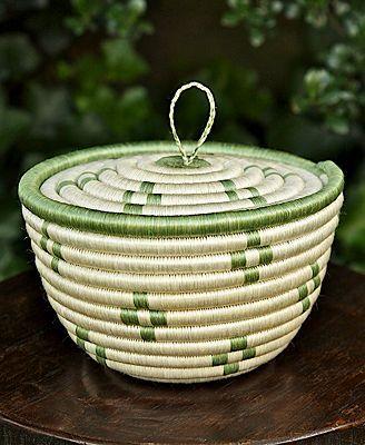 CLOSEOUT! Fair Winds Trading Rwanda Basket, Cherish Bowl with Lid 7