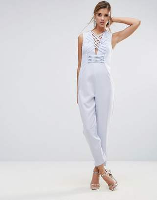 Asos Jumpsuit in Satin with Strapping Corset Bodice