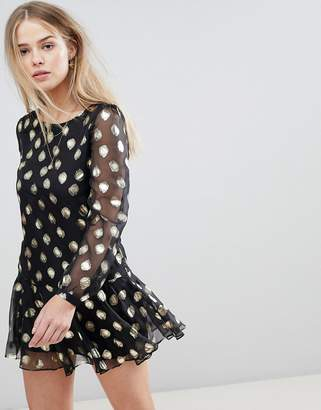 Glamorous Smock Dress In Sheer Fabric With Foil Spots