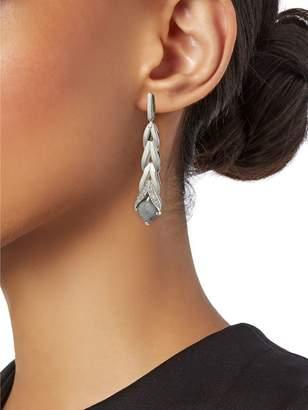 John Hardy Sterling Silver, Silver Sapphire & Diamond Drop Earrings
