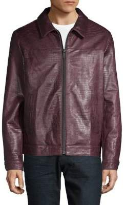 DKNY Embossed Leather Jacket